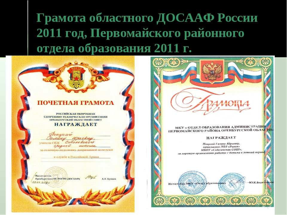 Грамота областного ДОСААФ России 2011 год, Первомайского районного отдела обр...