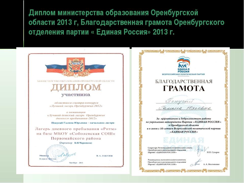 Диплом министерства образования Оренбургской области 2013 г, Благодарственная...
