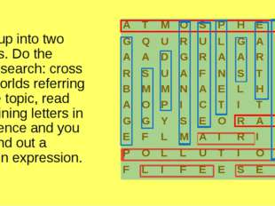 Split up into two teams. Do the word search: cross out worlds referring to th