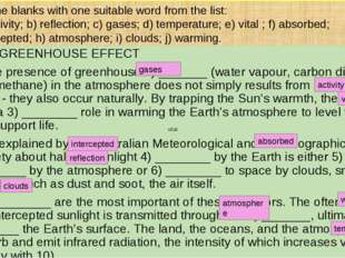 THE GREENHOUSE EFFECT The presence of greenhouse 1) _______ (water vapour, ca