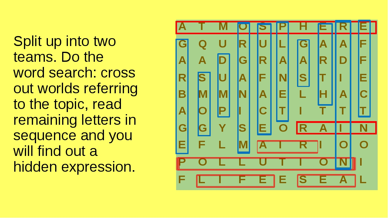 Split up into two teams. Do the word search: cross out worlds referring to th...