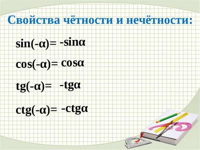 Свойства чётности и нечётности: sin(-α)= -sinα cos(-α)= cosα tg(-α)= -tgα ctg...