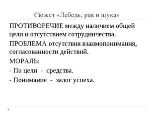 Сюжет «Лебедь, рак и щука» ПРОТИВОРЕЧИЕ между наличием общей цели и отсутстви