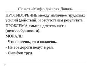 Сюжет «Миф о дочерях Даная» ПРОТИВОРЕЧИЕ между наличием трудовых усилий (дейс