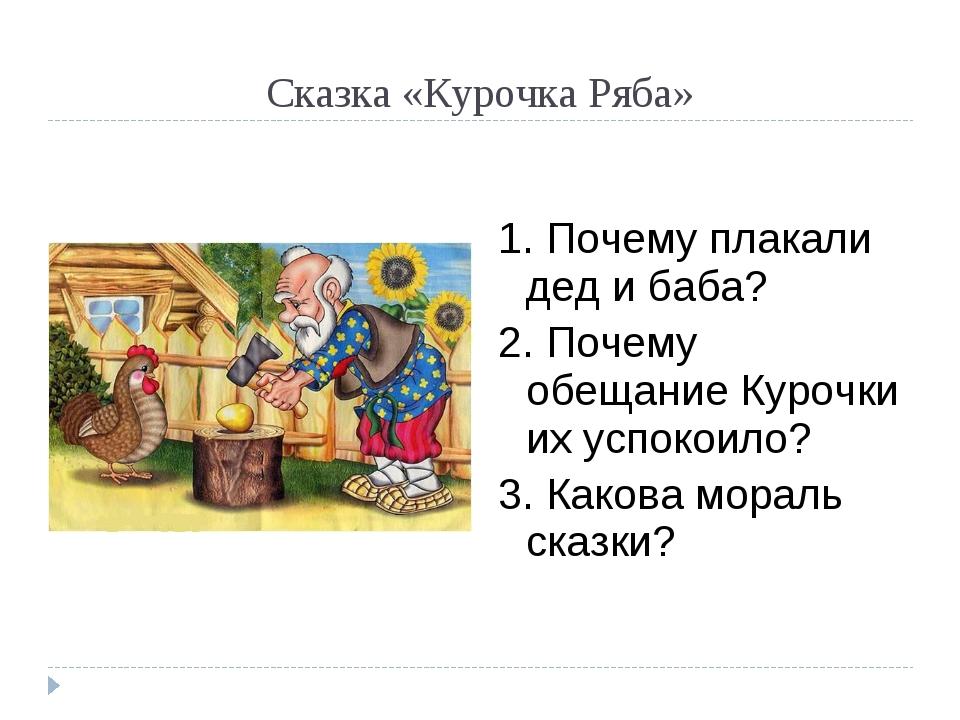 Сказка «Курочка Ряба» 1. Почему плакали дед и баба? 2. Почему обещание Курочк...