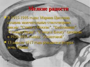 Мелкие радости В 1915-1916 годах Марина Цветаева создала замечательные стихо