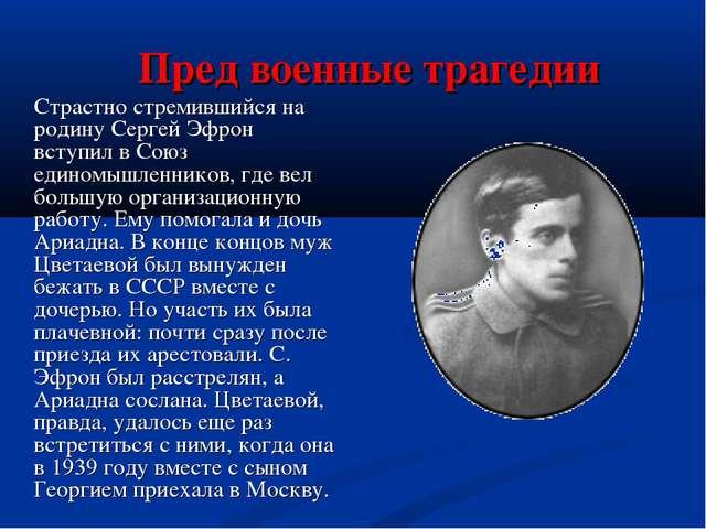 Пред военные трагедии Страстно стремившийся на родину Сергей Эфрон вступил...