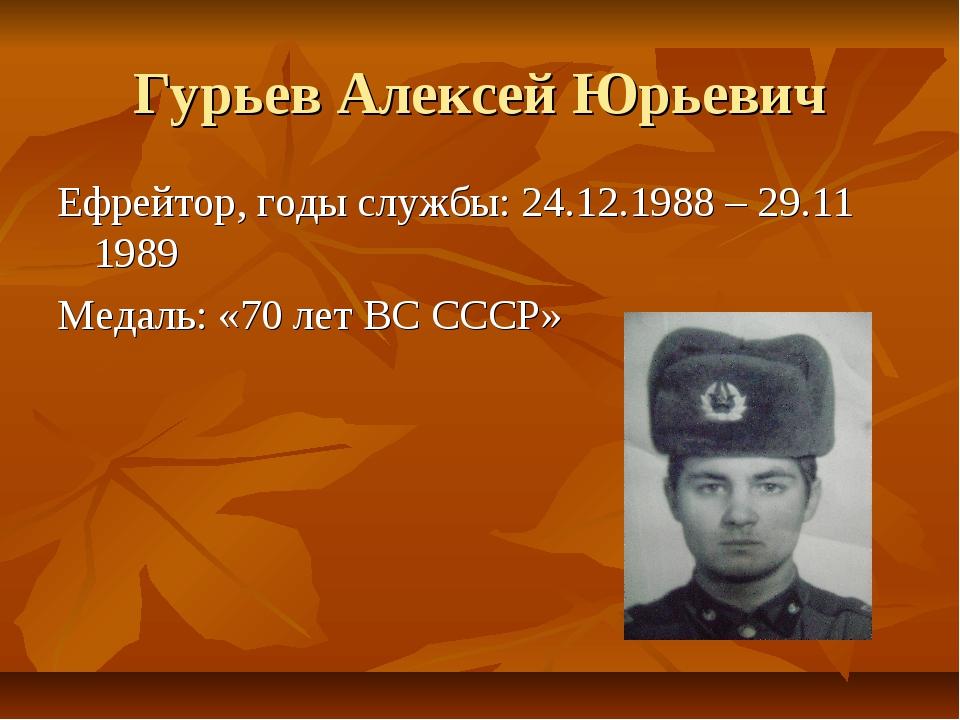 Гурьев Алексей Юрьевич Ефрейтор, годы службы: 24.12.1988 – 29.11 1989 Медаль:...