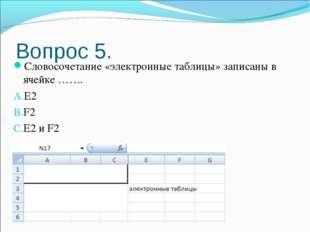 Вопрос 5. Словосочетание «электронные таблицы» записаны в ячейке ……. E2 F2 E2