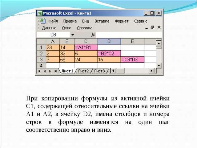 При копировании формулы из активной ячейки С1, содержащей относительные ссылк...
