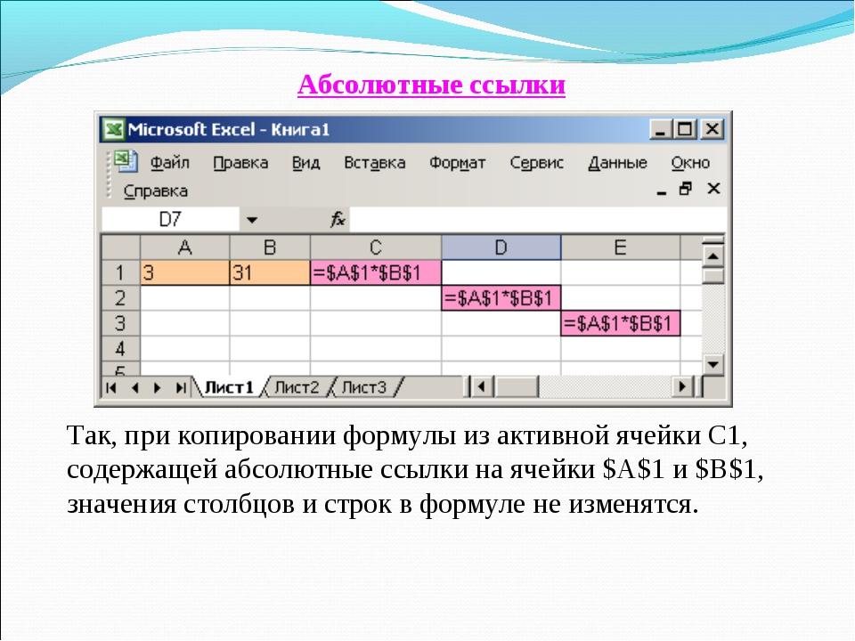 Абсолютные ссылки Так, при копировании формулы из активной ячейки С1, содержа...