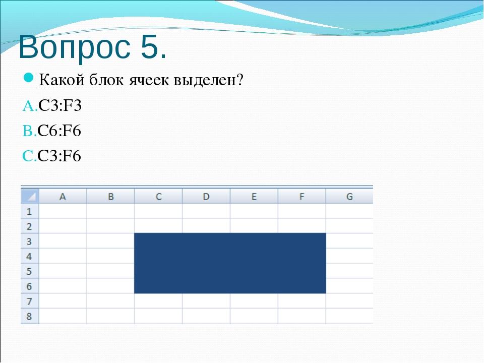 Вопрос 5. Какой блок ячеек выделен? С3:F3 C6:F6 C3:F6