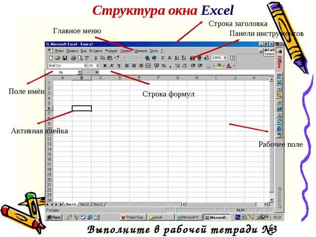 Структура окна Excel Главное меню Рабочее поле Панели инструментов Строка заг...