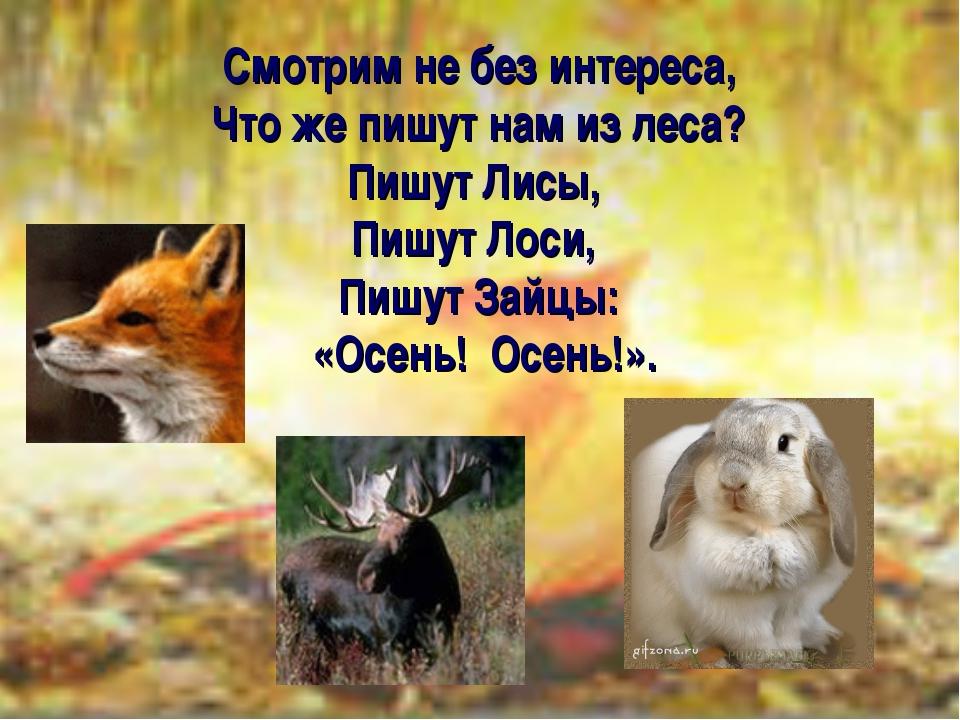 Смотрим не без интереса, Что же пишут нам из леса? Пишут Лисы, Пишут Лоси, Пи...