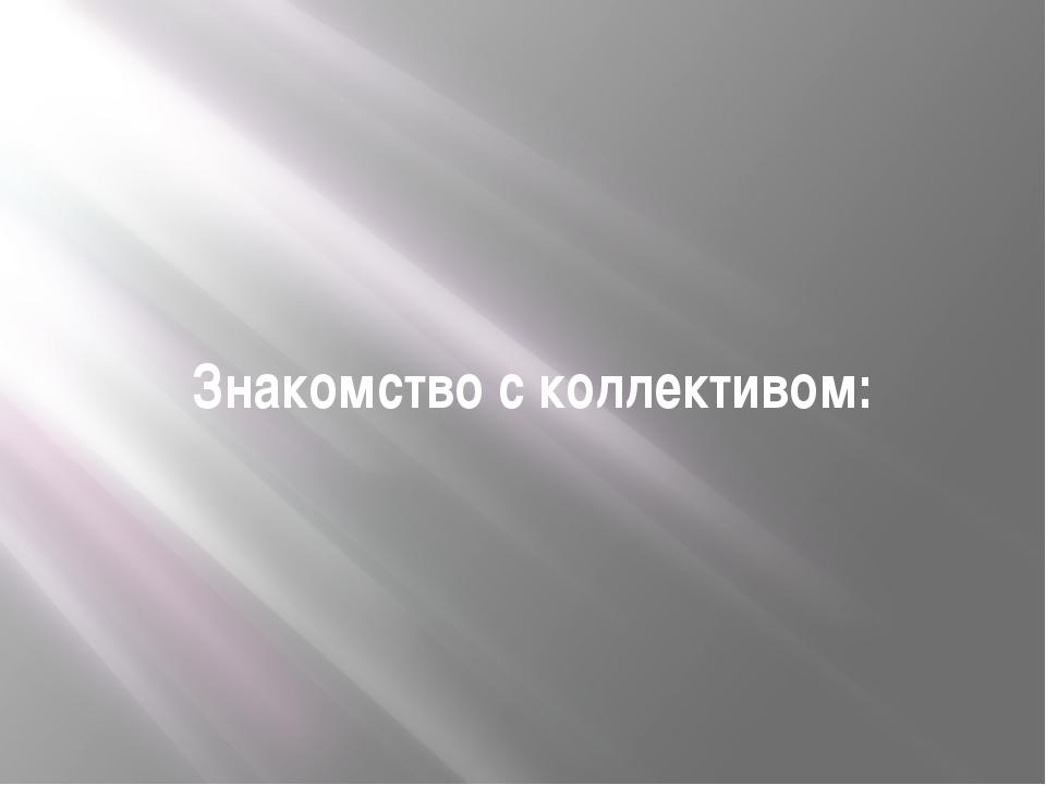 Знакомство с коллективом:
