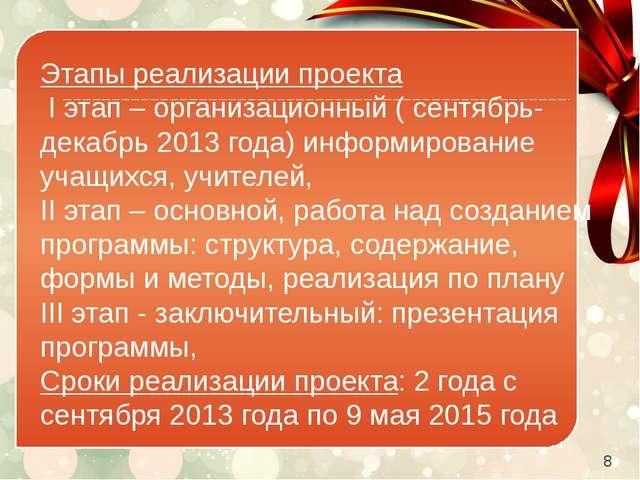 Этапы реализации проекта Iэтап – организационный ( сентябрь-декабрь 2013 г...