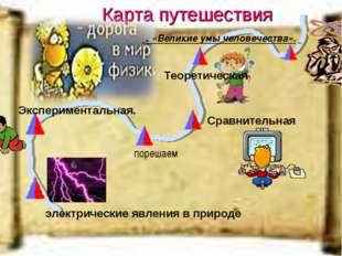 Карта путешествия электрические явления в природе Экспериментальная. . «Велик