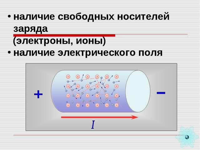 - - - - - - - наличие свободных носителей заряда (электроны, ионы) наличие эл...