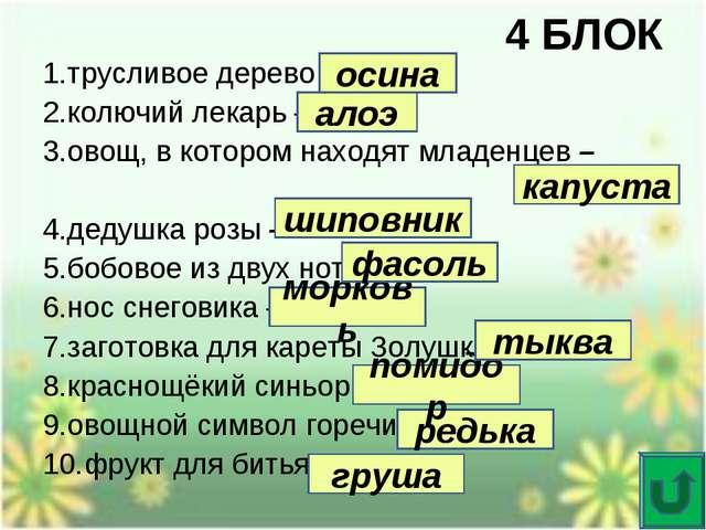 4 БЛОК 1.трусливое дерево – 2.колючий лекарь – 3.овощ, в котором находят млад...