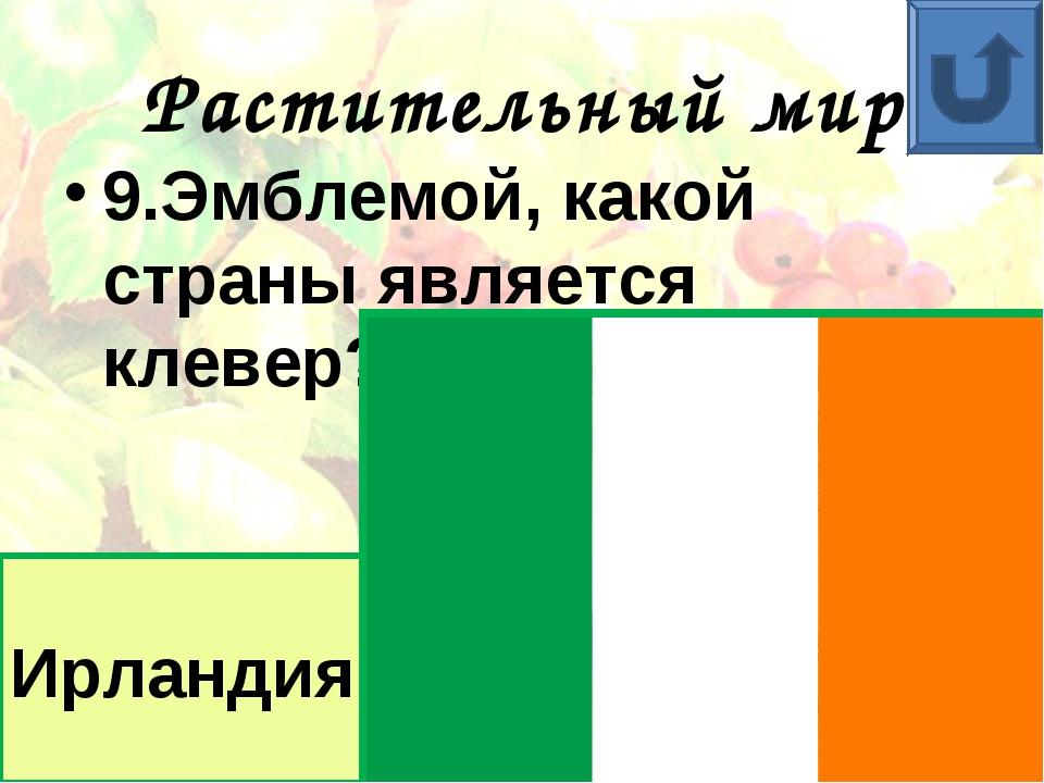 Растительный мир 9.Эмблемой, какой страны является клевер? Ирландия