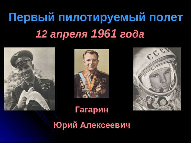 Первый пилотируемый полет 12 апреля 1961 года Гагарин Юрий Алексеевич