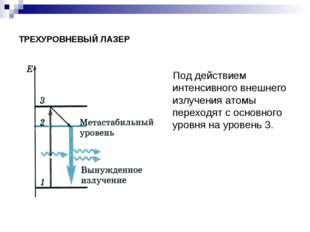 ТРЕХУРОВНЕВЫЙ ЛАЗЕР Под действием интенсивного внешнего излучения атомы перех