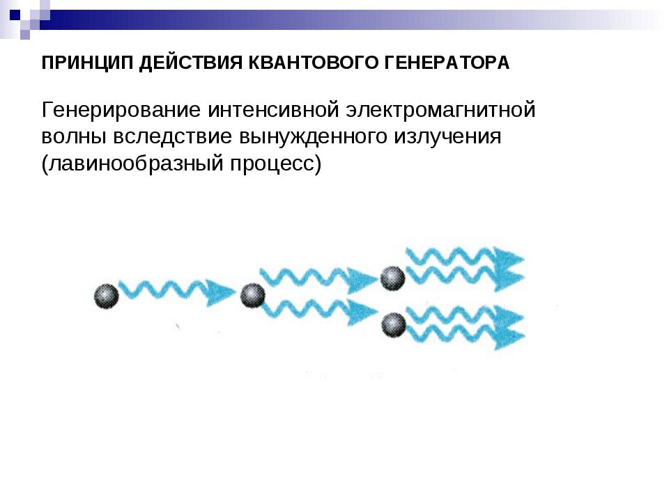 ПРИНЦИП ДЕЙСТВИЯ КВАНТОВОГО ГЕНЕРАТОРА Генерирование интенсивной электромагни...