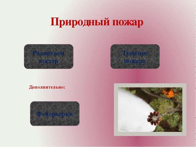 Природный пожар Разжигаем костер Тушение пожара Фейерверки Дополнительно: