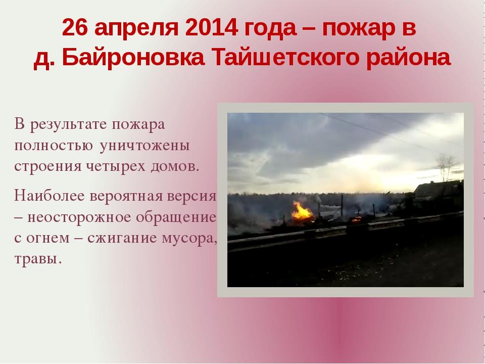В результате пожара полностью уничтожены строения четырех домов. Наиболее вер...