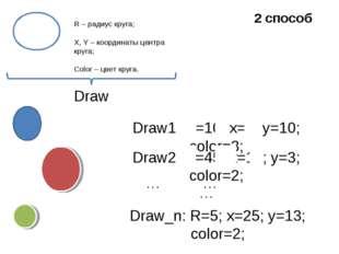 Draw1: R=10; x=5; y=10; color=3; Draw2: R=45; x=15; y=3; color=2; Draw_n: R=5