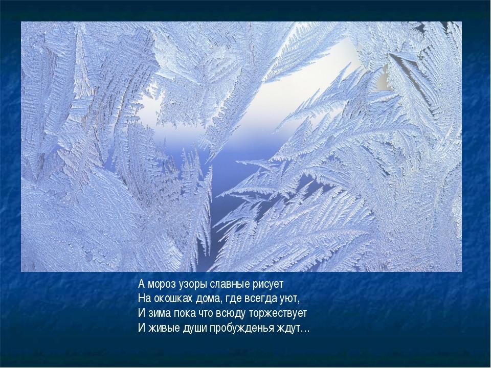 А мороз узоры славные рисует На окошках дома, где всегда уют, И зима пока что...