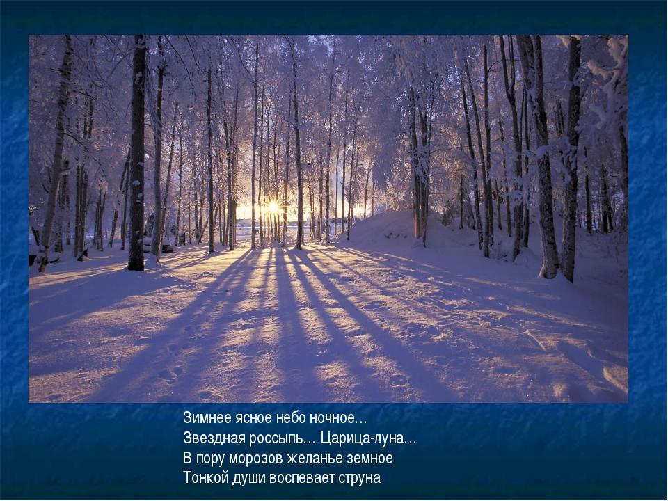 Зимнее ясное небо ночное… Звездная россыпь… Царица-луна… В пору морозов желан...