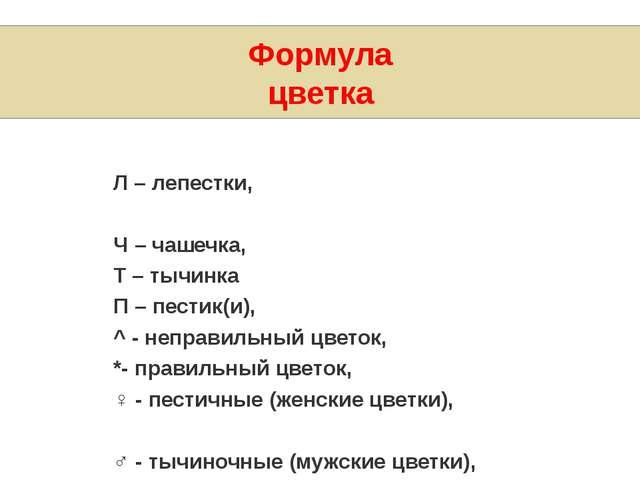 Формула цветка Л – лепестки, Ч – чашечка, Т – тычинка П – пестик(и), ^- неп...
