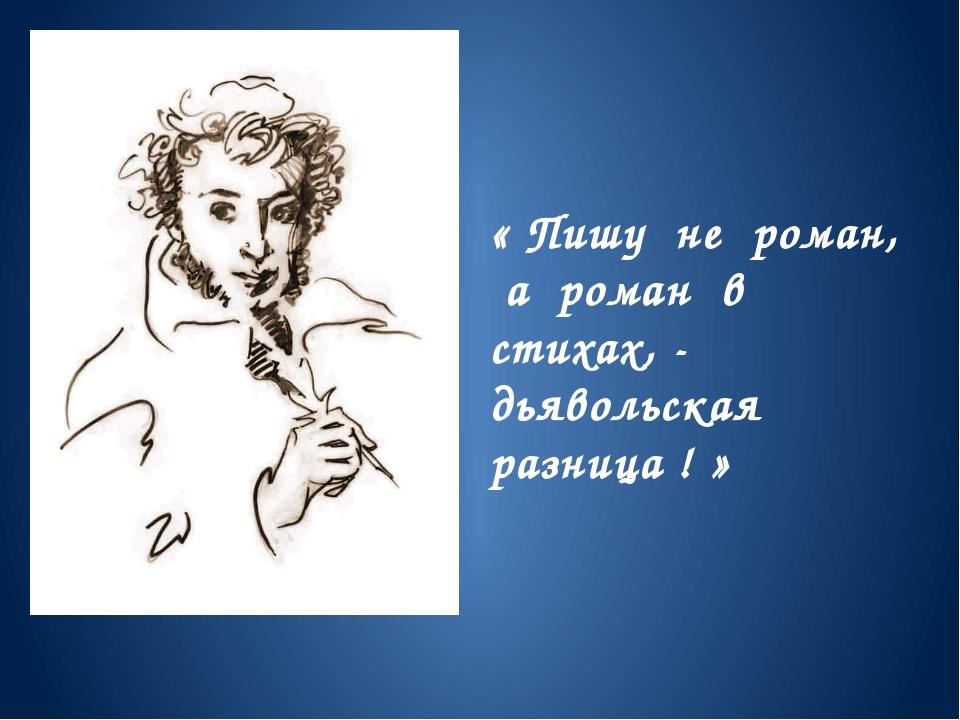 « Пишу не роман, а роман в стихах, - дьявольская разница ! »
