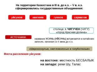Места расселения уйсунов: На территории Казахстана в III в. до н.э. – V в. н.