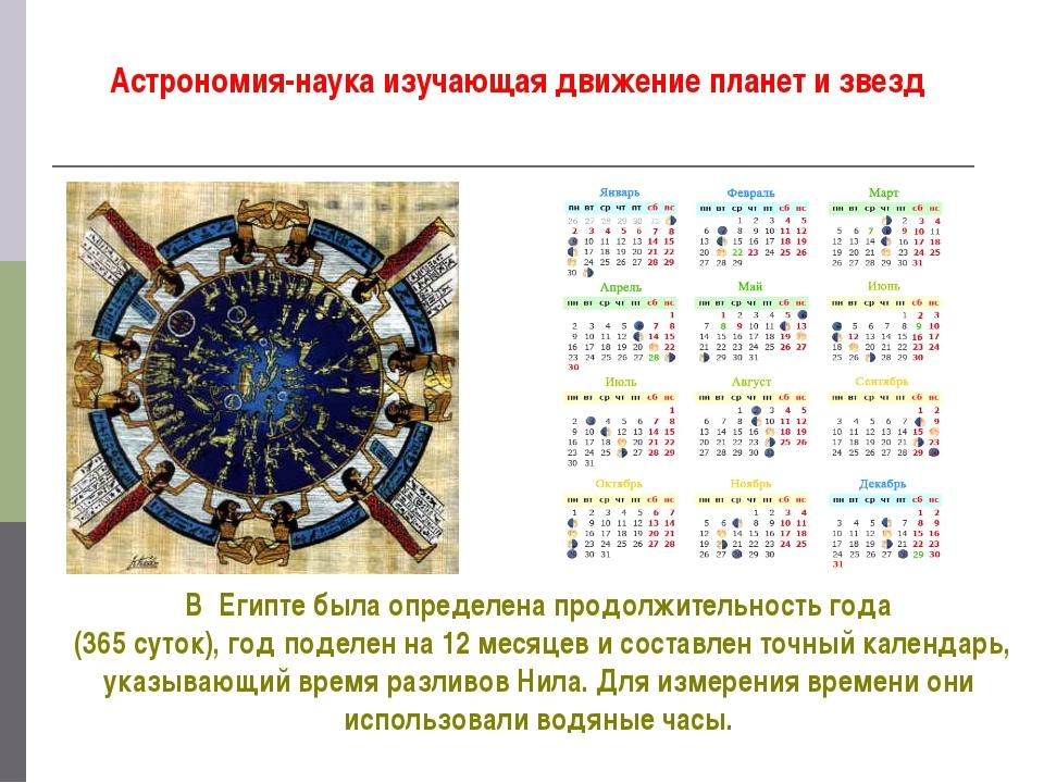 Астрономия-наука изучающая движение планет и звезд В Египте была определена п...