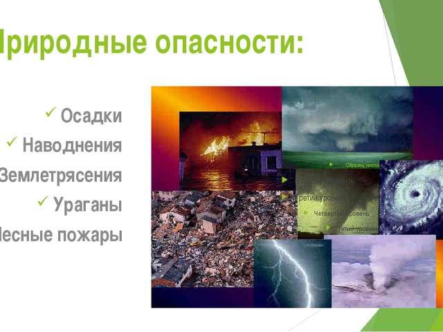 Природные опасности: Осадки Наводнения Землетрясения Ураганы Лесные пожары