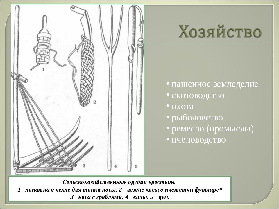 пашенное земледелие скотоводство охота рыболовство ремесло (промыслы) пчелов...