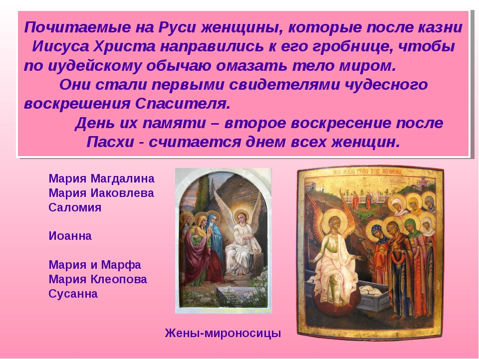 Почитаемые на Руси женщины, которые после казни Иисуса Христа направились к...