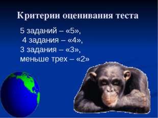 Критерии оценивания теста 5 заданий – «5», 4 задания – «4», 3 задания – «3»,