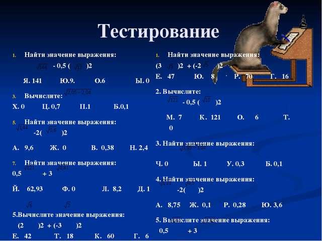 Тестирование Найти значение выражения: - 0,5 ()2 Я. 141 Ю.9. О.6 Ы. 0 Вычисли...