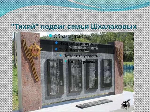 """""""Тихий"""" подвиг семьи Шхалаховых"""