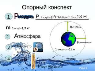 Опорный конспект m 1 м куб=1,3 кг 1 Р 1 м куб = g*m=9.8H/кг *1,3кг= 13 Н 2 Ат