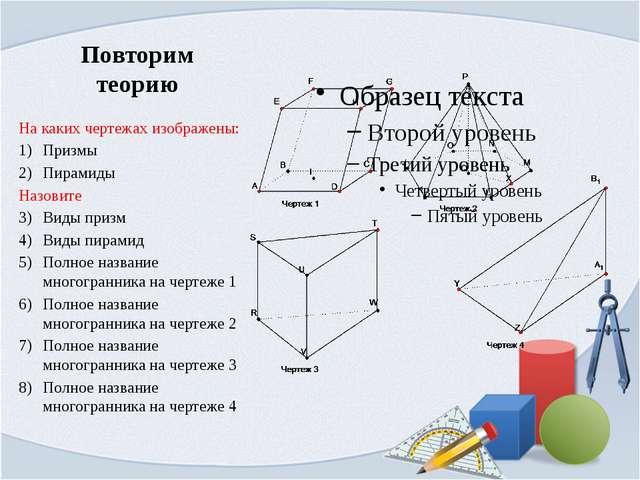 Повторим теорию На каких чертежах изображены: Призмы Пирамиды Назовите Виды п...