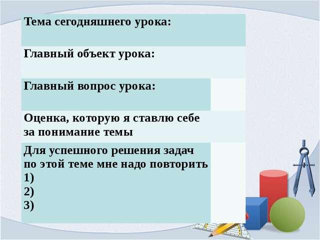 Тема сегодняшнего урока:   Главный объект урока:   Главный вопрос урока:...