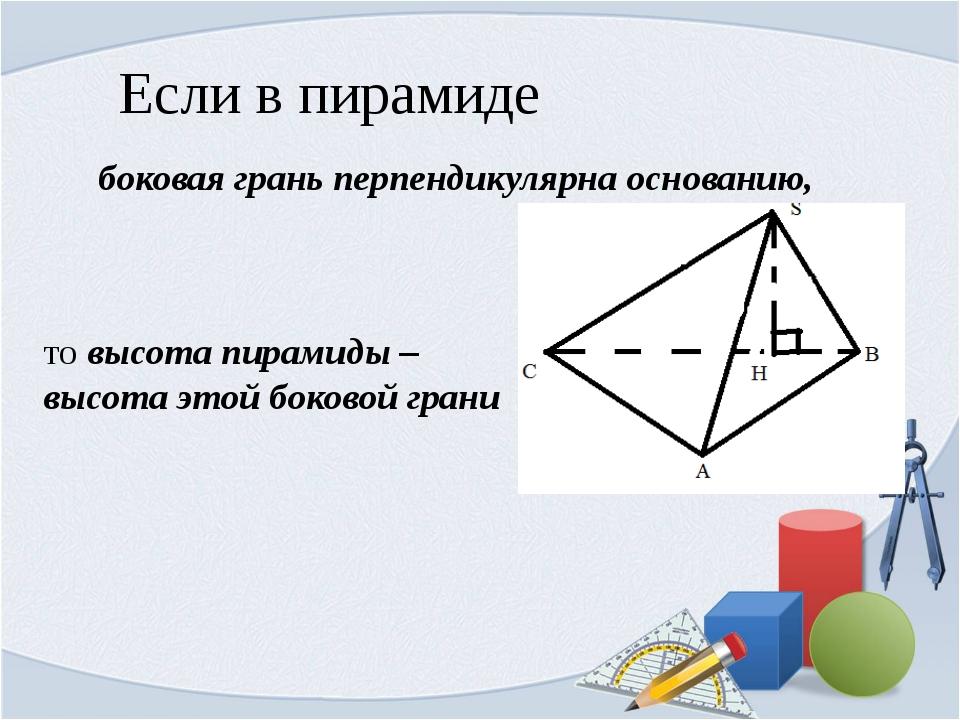 Если в пирамиде боковая грань перпендикулярна основанию, то высота пирамиды –...