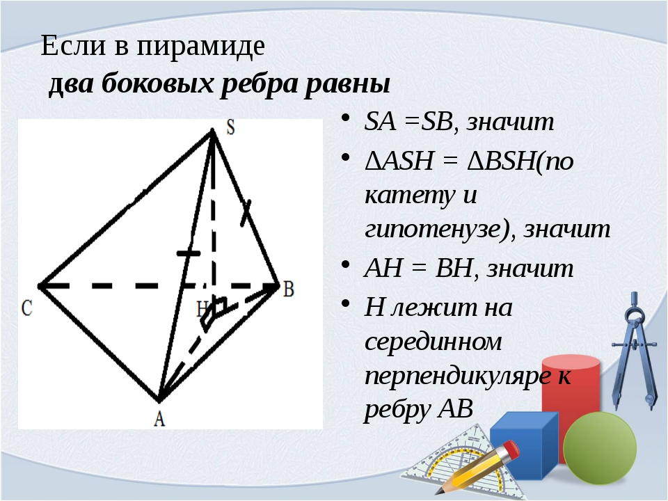 Если в пирамиде два боковых ребра равны SA =SB, значит ∆ASH = ∆BSH(по катету...