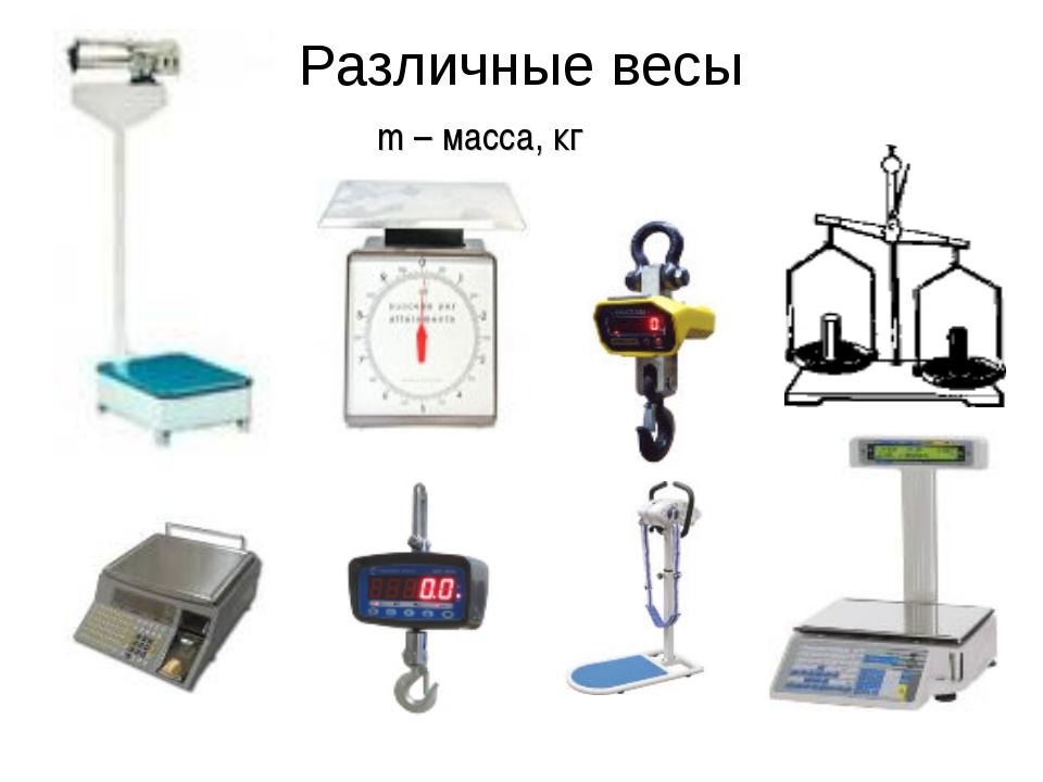 Различные весы m – масса, кг