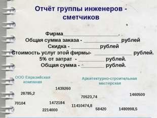 Отчёт группы инженеров - сметчиков Фирма___________________. Общая сумма зака