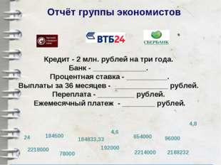 Отчёт группы экономистов Кредит - 2 млн. рублей на три года. Банк - _________